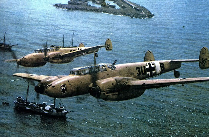 A squadron of Messerschmitt Bf 110C that flies on the sea.