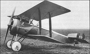 An Hanriot HD.1 on the flying field, ready to fly!