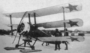The Sopwith Triplane fitted with skis used by the Russian Empire.
