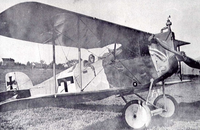 Karl Turek with his Aviatik D.I and his T on the fuselage.