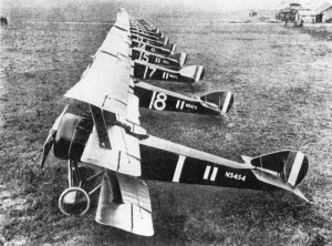 Sopwith Triplanes from No. 1 Naval Squadron, in Bailleul, France (Imperial War Museum).