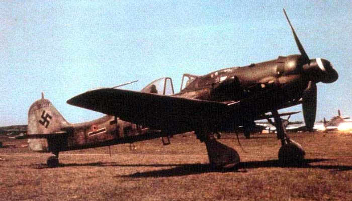 A Focke-Wulf FW 190 D9 on a flying field.