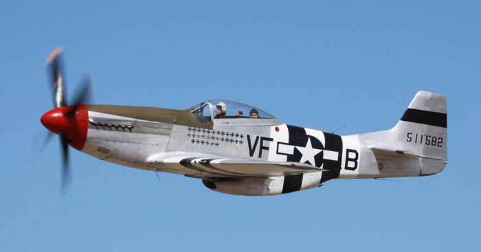 An American Mustang P-51D on flight.