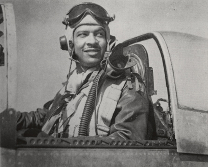 Spurgeon Ellington on his P-51D Mustang, ready to fight!