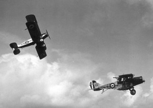 Two Bristol F2B in flight.
