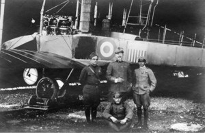 "La Guardia in front of Caproni ""The Congressional Limited"" with Cambiaso Negrotto, Federico Zapelloni, and Sgt.Firmani (seated)."