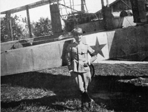 Captain Guido Taramelli with one of the Caproni he used to fly at 1a Squadriglia.