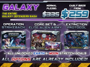 Galaxy level: all the rewards of the Moon level (Red and Blue), all stretch goals, and the GD Core Set and Elite Alien Army.