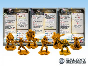 NPCs: yellow-colored cards and figures,