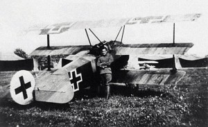 Rudolf Stark and the Fokker Dr.I he used at Jasta 34b.