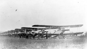 DH.4 planes of the 135th Aero Squadron line up on Aug. 7 for the first mission flown over the Front. (U.S. Air Force photo)