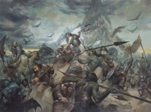 """The Last Stand of Thorin Oakenshield"", 30x40 Oil on Masonite, cover art of The Battle of Five Armies."