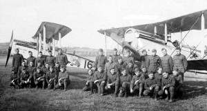 50th Squadron: enlisted men in front of DH-4 planes, in France, 1918. (Air Service, US Army)