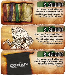 The three Stretch Goals already set for the Age of Conan KS campaign.