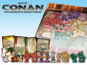 Game components of Age of Conan Strategy Board Game.