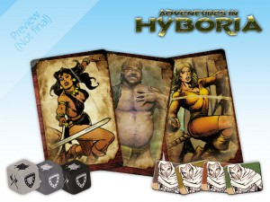Some contents of Adventures in Hyboria: Conan dice, Companion cards and Spies tokens.