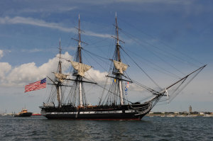 USS Constitution sails in 2012 during the commemoration of the 200th anniversary of the victory over Guerriere. (US Navy*)