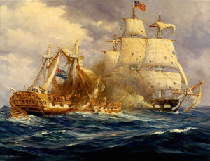 Action between USS Constitution and HMS Guerriere (Painting by Anton Otto Fischer**).