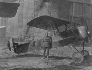 "Fokker E.V ""butin de guerre"" serving the Belgium Air Force, with the pilot Van Cothem, in 1919."