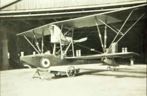 A Macchi M.5 in the hangar.
