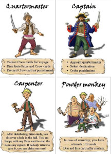 Jolly Roger author's prototype: Quartermaster and Capitain cards, and two special crew cards.