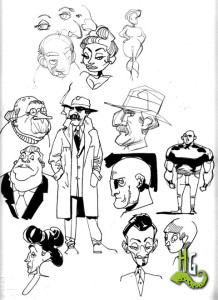 A few examples of the various character design styles attempts.