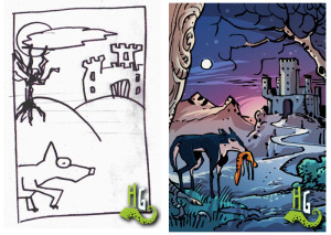 An author's drawing and the version made by the professional comic artist, Matteo Cremona.
