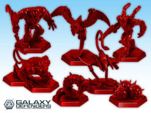The red miniatures of the Elite Alien Legion.