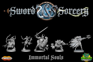 The miniatures of Sword and Sorcery's heroes.