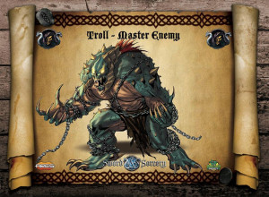 The fearsome Troll, one of the Master enemies in Sword and Sorcery.