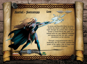 Auriel, the greatest Elven sorceress of her age. The Lawful Auriel is skilled in meditation.