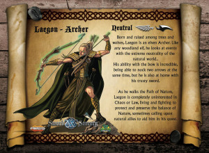 The Elven Ranger, Laegon, is neutral in his moral alignment. As an Archer, he is the perfect sniper.