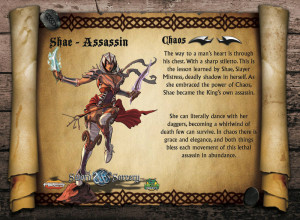 Shae is the quintessential thief - silent, quiet, and deadly with her daggers. The Chaotic Shae, a perfect assassin.