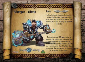 The dwarf Thorgar is a mystic and a holy priest. Here is the Lawful Thorgar.