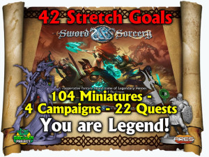Sword and Sorcery campaign on Kickstarter: all stretch goals unlocked.