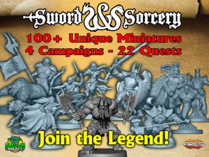 A view of the heroes of Sword & Sorcery project, included in the Immortal Hero pledge level.