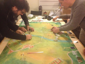 The first of the two game sessions start: Austrians advance from the left.