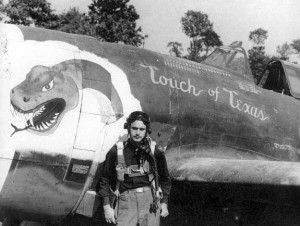 "Lt.Mohrle and his P-47, ""Touch of Texas."""