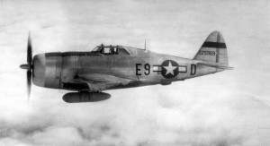 A Republic P-47D Thunderbolt in flight.