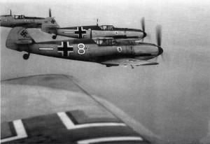 A formation of Bf.109 E, the variant which started to replace the German biplane fighters in 1939.