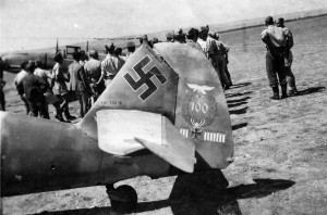 "Tail of the BF. 109 F-4 piloted by the ace Oskar-Heinrich (""Heinz), of  Stab I./JG 77."