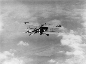 The Albatros C.III flying in the air.