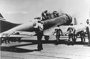 A damaged SBD-3 after landing on USS Yorktown, during the Battle of Midway. width=