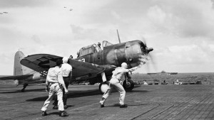 A Douglas SBD-5 Dauntless of VB-16 preparing to launch from USS Lexington, on a strike in the Central Pacific.