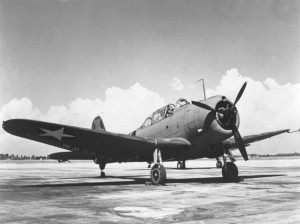 A Douglas A-24 Banshee, the SBDs' land-based variant, used by Free France GC 1/18 Véndee squadron.