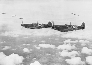 Supermarine Spitfire Mk.Is of 610 Squadron flying in 'vic' formation - July, 1940.