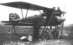 German ace Ernst Udet with an Albatros D.III.