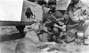 William Thaw, with the Lafayette Escadrille's mascots, lion cubs Whiskey and Soda.