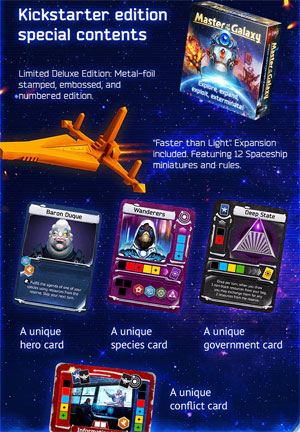 Master of the Galaxy: a view of the exclusive contents of the Kickstarter edition.